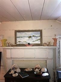 Beautiful original seascape artwork, McCoy pottery, Oak wash stand, and Conch shells