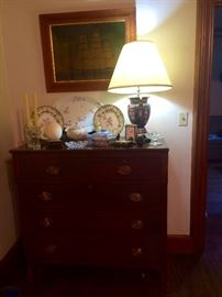 Beautiful five drawer antique mahogany chest, with pair of Minton plates and more collectibles.