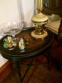 An up close view of my favorite little tray table, Chinese glazed pieces, and a vintage Stiffle lamp