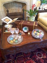 Gorgeous and stately square Baker mahogany coffe table with another antique writing box, marble eggs and even more crystal...sorry, the andirons stay with the house!