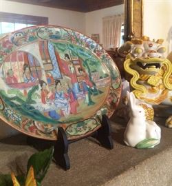 Famille Rose small oval platter, Herend minatures, and those charming and cheerful Foo Dogs!