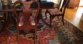 dining room table and 6 chairs Queen Anne