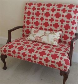 red and white bench