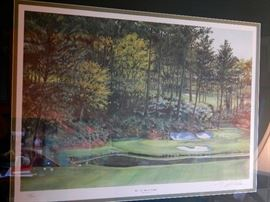 PRINT OF THE 12 HOLE AT THE MASTERS