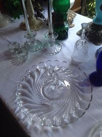 Lovely Fostoria Colony candle holders and platter