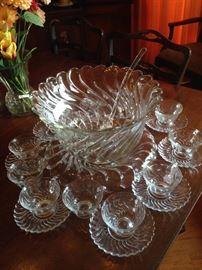 Rare Fostoria Colony punch bowl & cups