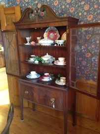 Large antique china cabinet with double doors