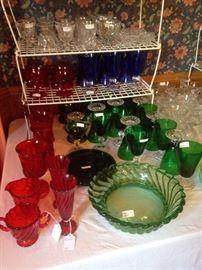 Fostoria colored Colony glassware