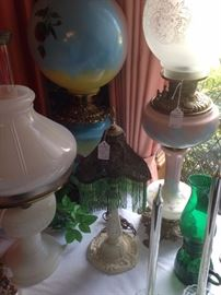 Some of the many antique lamps