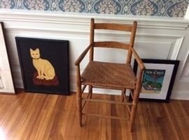 Shaker child's chair. Folk art Cat painting.