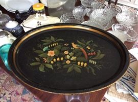 Folk Art hand-painted serving tray.