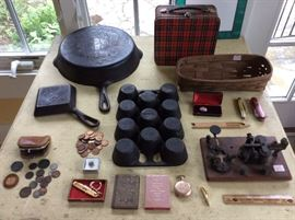 Griswold cast iron, interesting smalls, Indian Head pennies and old large cent coins.