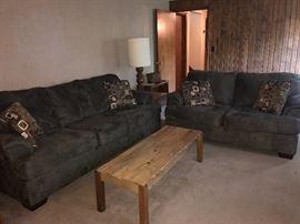 Microsuede dark sage green sofas in excellent condition.