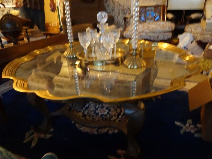 AWESOME GLASS, BRASS AND WOOD BASE COFFEE TABLE!