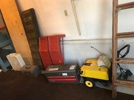car ramps, 10' wooden ladder, pressure washer, Craftsman tool box