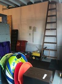 car ramps, 10' ladder, sleds, file cabinet