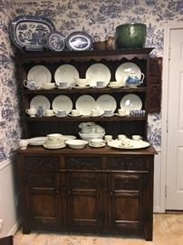 Antique English Oak Hutch (dresser) with a vintage set of Wedgwood Edme