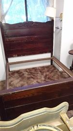 Antique double bed from North Bloomfield. 1800's.