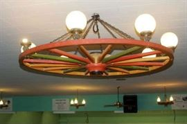 Giant wagon wheel light from the Oxnard Wagon Wheel Bowling Alley
