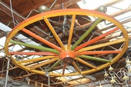 Giant wagon wheel chandelier from the Oxnard Wagon Wheel Bowling Alley