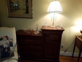 Chest with antique glass and Crystal lamp