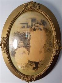 antique framed photo of girls