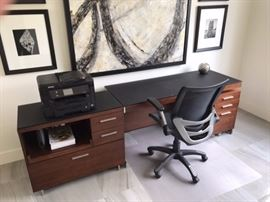 Office Desk - Smoked glass top.  Desk, printer stand and file shelves are 3 separate pieces that combine to one unit.