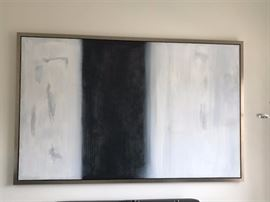 "Extra Large Artwork - Contemporary picture in white and blackish blue.  Frame is silver colored.  96"" Wide and 61"" height"