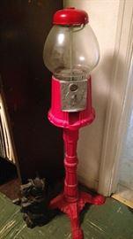 Gumball machine on a stand, metal door stops