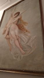 5'x7' Effie Doan painting. Toledo artist from the turn of the last century, grown up angels