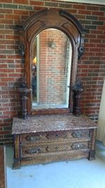 Amazing red marble top Victorian dresser and mirror