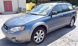 At 8PM, Estate Auto: 2006 Subaru Ouback Wagon with 118,299 Miles; Slate-Blue Exterior, Gray Sport Cloth Interior; Power Windows, Mirrors, Locks; Remote Keyless Entry Fob; Power Driver's Seat; AM/FM Stereo with CD; Heated Front Seats, and more. VIN: 4S4BP61C467348850