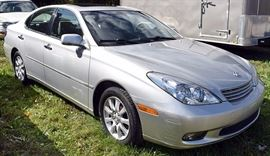 At 8PM: 2002 Lexus ES300 Estate Auto with 28,141 Miles; Silver Exterior, Light-Gray Leather Interior; Automatic Transmission; Power Windows, Locks, Mirrors; Power Front Seats with 2-position Memory Settings; Remote Keyless Entry Fob; Heated Front Seats; Dual Climate Controls; Power Tilt/Slide Moonroof; AM/FM Stereo with CD and Cassette, with RDS and Lexus Premium Sound System; Cruise Control, and much more. VIN: JTHBF30GX20074968