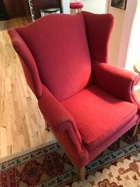 Wing Back Chair, Red Marilyn Persimmon