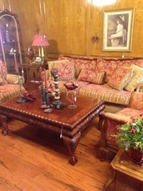 Large red & gold sofa & chairs