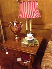 Antique 2-tier side table and coordinating accessories