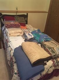 Twin bed with mattress, box spring and frame