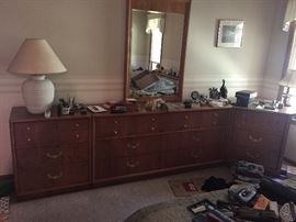 Queen bookcase bed frame (mattresses included) with matching dresser and corner unit