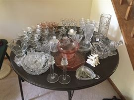 Crystal, cut glass, misc. serving dishes