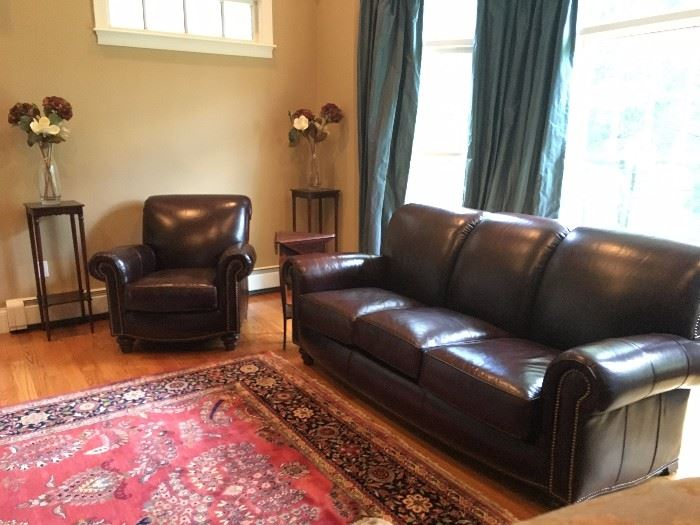 Leather Sofa with Matching Armchair with Nail Head Detail