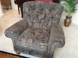 Pair of tufted club chairs with high wearability upholstery!! $550/pair