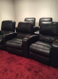 Set of 5 leather theater chairs with cup holders $1450