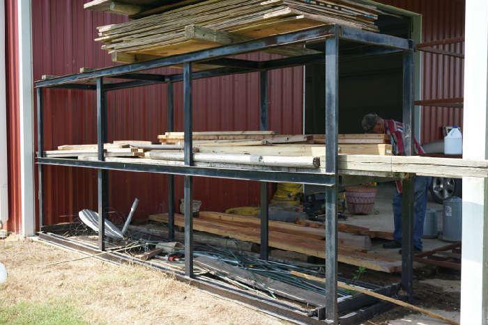 Second row pine lumber                                                       Metal Rack