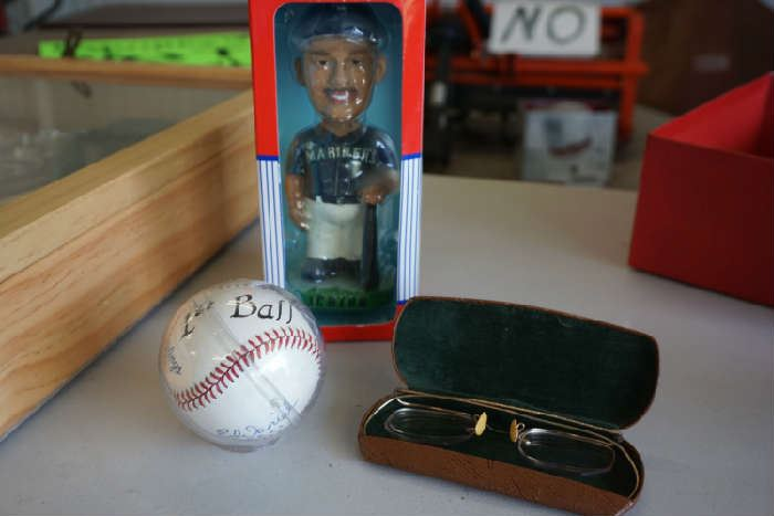 "Old glasses, ""First ball"" MSBL, collectible bobble head"