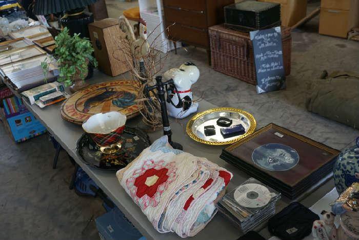 Decorative items, dog treat jar, old quilt