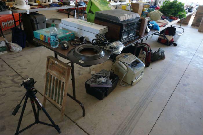 Turntable and cassett player, fax machine, scanner. tripod, rub board