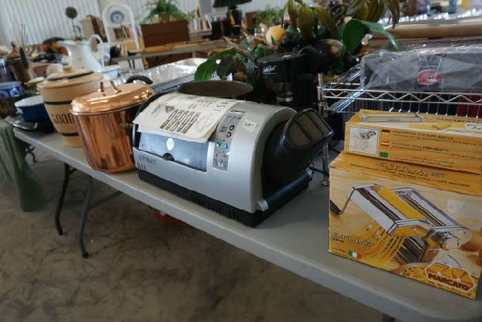 Pasta maker, coffee bean roaster (one of 2),copper pot