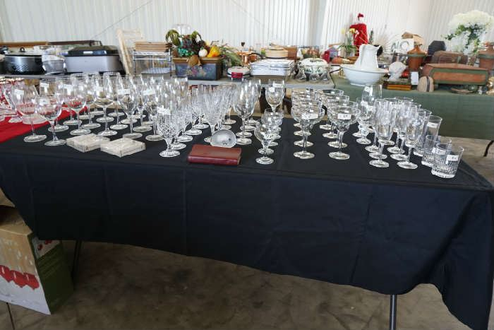 Crystal stemware and paper weight