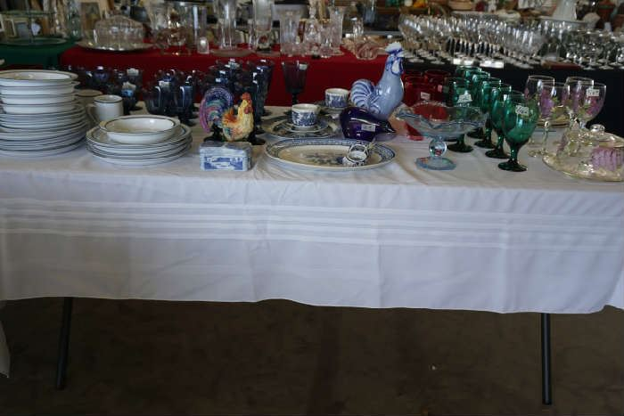 Dansk dinnerware, blue stemware, blue willow, roosters, matching wine glasses & cheese plate