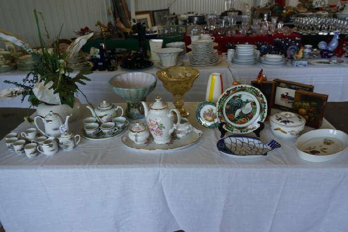 Briar Rose coffee set, rooster plate Dept. 56, Royal Worchester serving pieces, Japanese tea set